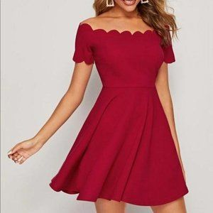 Scalloped off the shoulder fit flare twirl dress